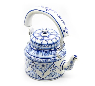 Indian Aura Traditional Handpainted flower pattern white blue design Tea Kettle Set with glass stand