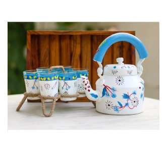 Indian Aura traditional Handpainted flower pattern white design Tea Kettle Set with glass stand