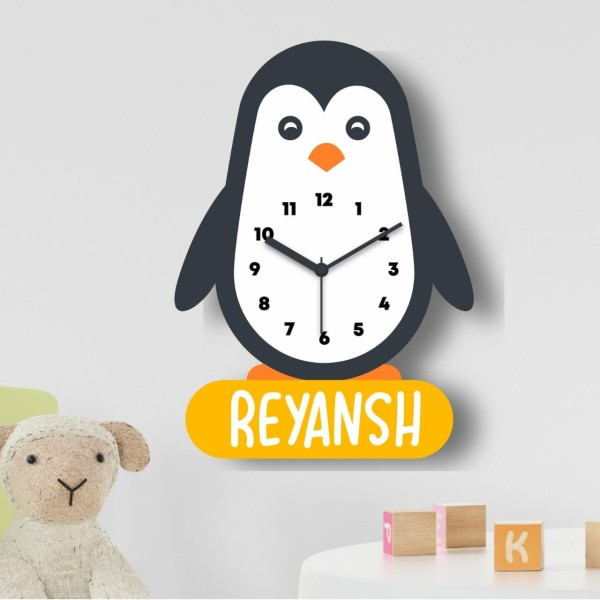 Indian Aura Personalised kIds Wall Clock, Decorative Cute Wooden Clock for Nursery Children Baby Room