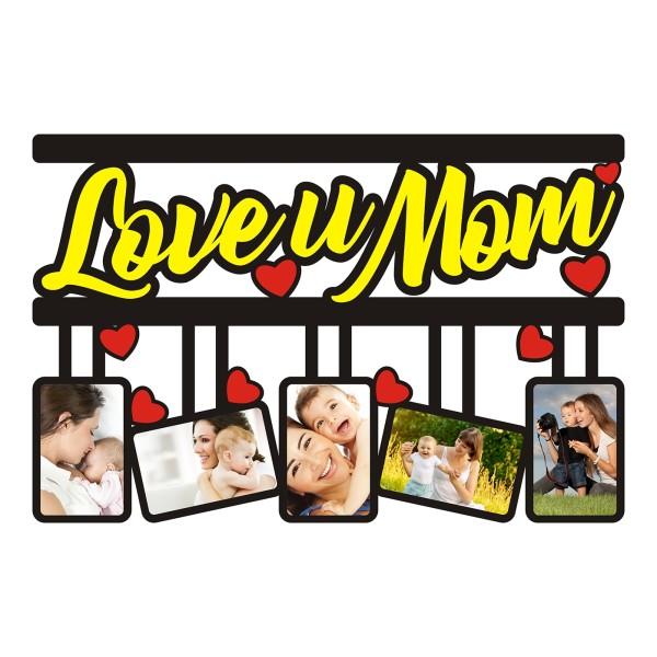 Indian Aura ''LOVE YOU MOM'' Wooden Wall Hanging Picture Frame With Customized Name, Size:12*16 inches